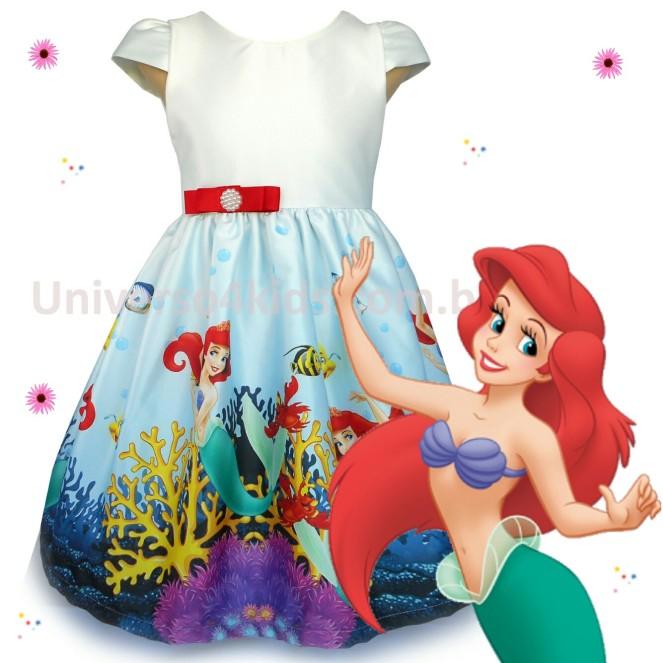 Vestido Ariel pequena Sereia